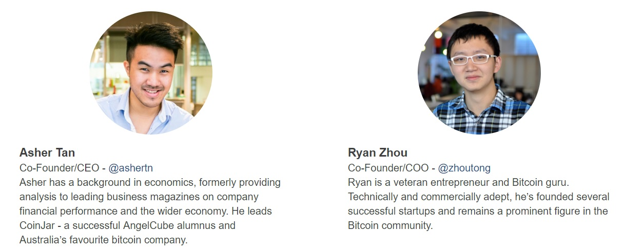 CoinJar founders are Asher Tan and Ryan Zhou