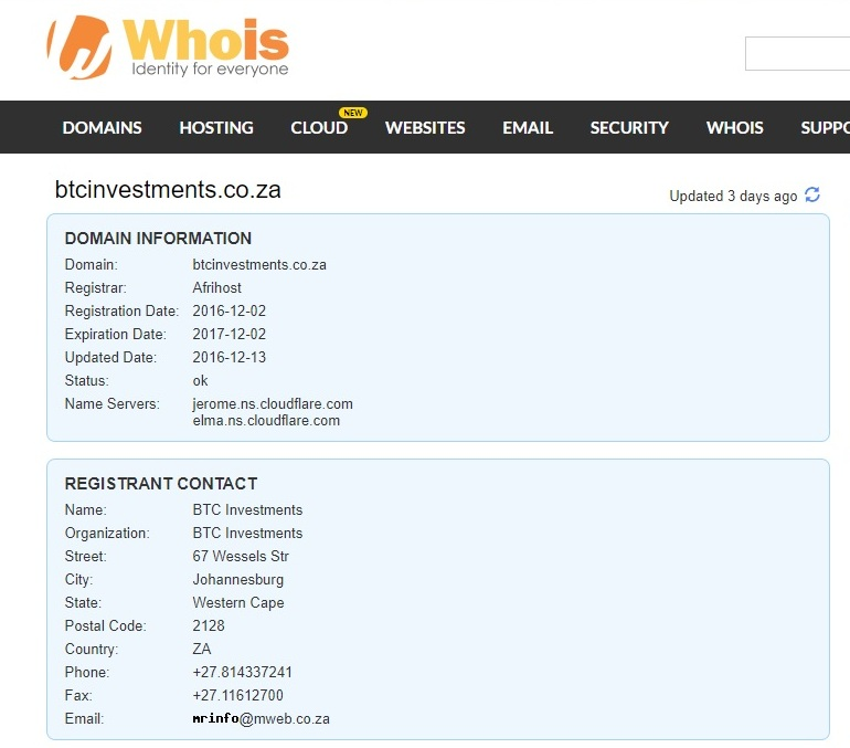 BTC Investments - WHOIS