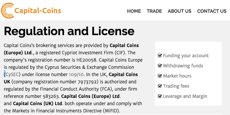 CapitalCoins Regulatory Information