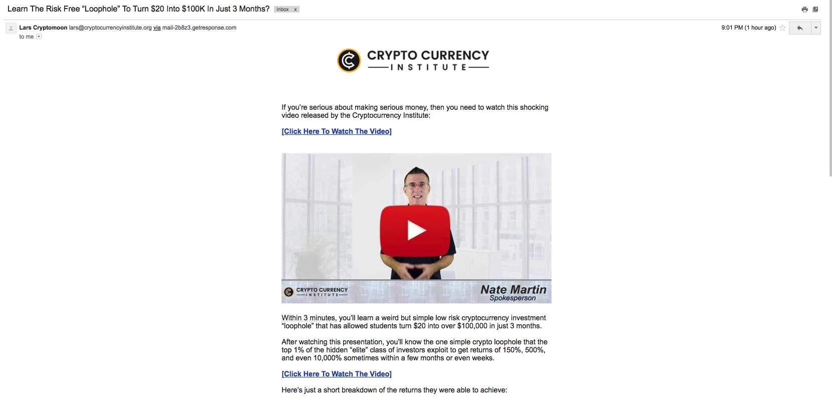 CryptocurrencyInstitute.org - Email
