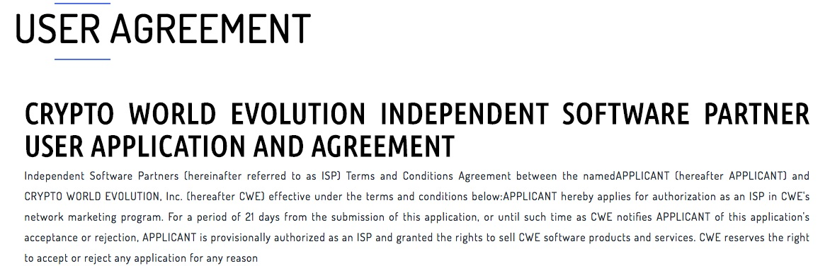 CryptoWorldEvolution.trade User Agreement