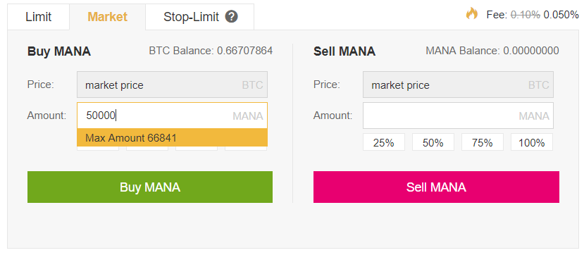 Buy/Sell MANA