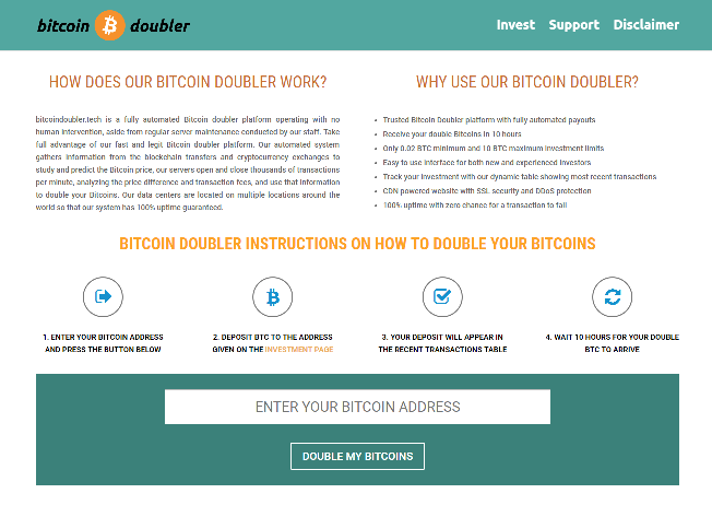 BitcoinDoubler.tech - Bitcoin Doubler tech scam