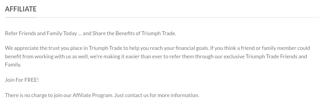 Triumphtrade.biz - Affiliate Program